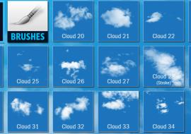 34 brushes photoshop mây trời miễn phí,  brush vẽ trời mây cho photoshop